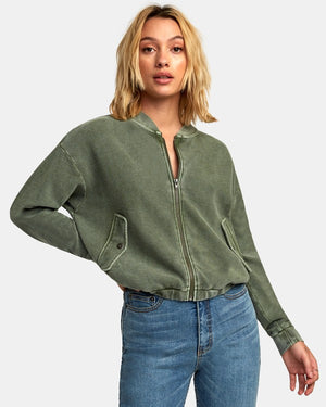 RVCA Flock Zip Womens Bomber Jacket - Sage