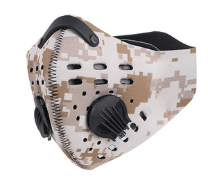 Face Mask with KN95 removable filter and exhale valves Black - Camo -  Desert Camo