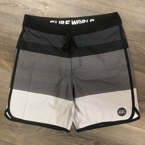 Surf World Deep Drop Boardshorts -The Surf World Collection - Black White