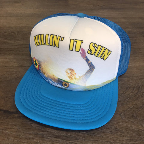 Killing it Sun Kulcha Shok Muzik Trucker Hat - Light Blue