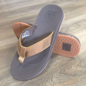Reef Leather Fanning Low Mens Sandals - Brown SURF WORLD