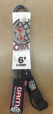 OAM 6' Comp Leash Pink/Grey/Black - SURF WORLD Florida