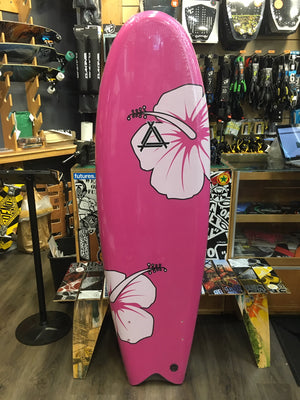 "Soft Surfboard Triple X 5'10 x 21"" Twin Fin Fish PInk Flower SURF WORLD"