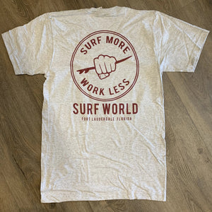 Surf World Work Less Surf More Tee - Heather Grey