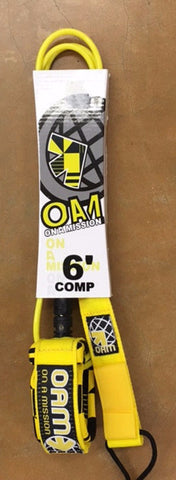 OAM 6' Comp Yellow/Black Surf Leash - SURF WORLD Fort Lauderdale Florida