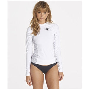 Billabong Women's Surf Dayz Performance Fit Colorblock Long sleeve Rashguard - White - SURF WORLD Fort Lauderdale Florida