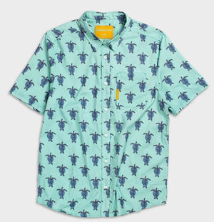 Flomotion Turtle Men's Woven Shirt - Mint SURF WORLD