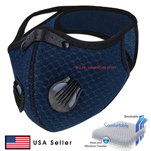 Blockade Navy Blue Protective Mask 3D Mesh Reusable with Filter