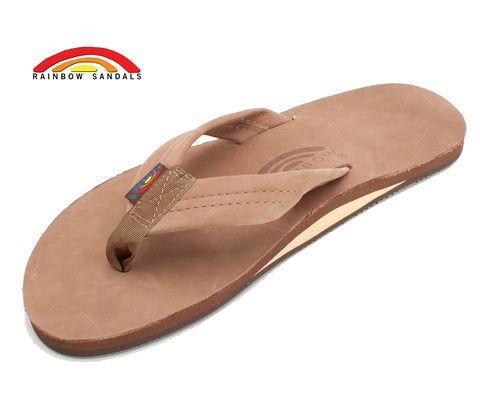 Rainbow Sandals Men's Dark Brown Leather Single Layer Arch Flip Flops - SURF WORLD Fort Lauderdale Florida