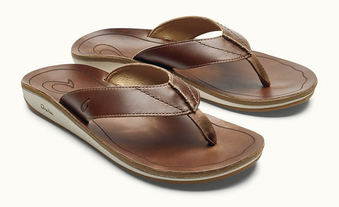 Olukai Nohona ili Men's Leather Sandals - Tan Tan