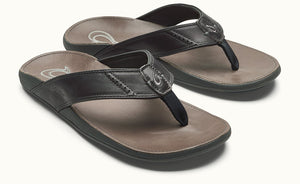 Olukai Nui Men's Leather Sandals - Dark Shadow / Charcoal SURF WORLD