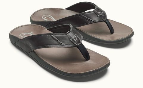 Olukai Nui Men's Leather Sandals - Dark Shadow / Charcoal