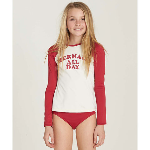 Billabong Sol Searcher LS Girls Youth Rashguard - Rasberry - SURF WORLD Fort Lauderdale Florida