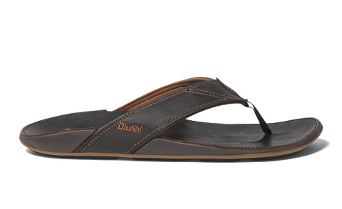 Olukai Nui Men's Leather Java Sandals - Dark Java / Dark - SURF WORLD Fort Lauderdale Florida