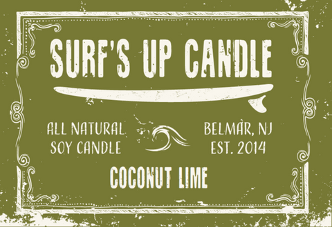 Surfs Up Candle 8oz Mason Jar Soy Candle - Coconut Lime - SURF WORLD Florida