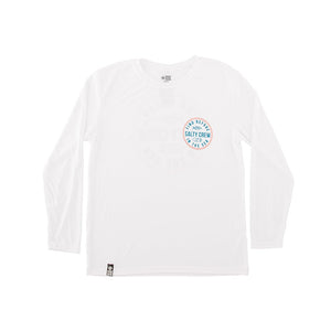 Salty Crew Twin Fin Boys LS UV Tech T Shirt - White