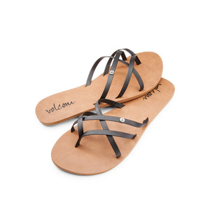 Volcom Women's New School Sandals - Black and Coral SURF WORLD