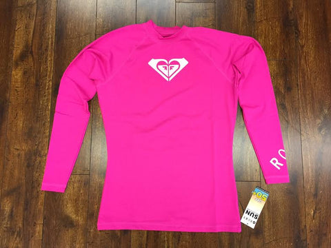 Roxy Whole Hearted LS Womens Rashguard - Pink - SURF WORLD Fort Lauderdale Florida