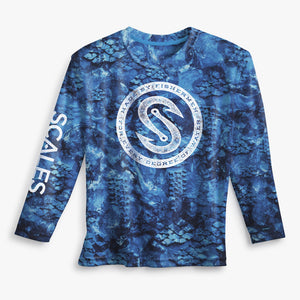 Scales Every Degree Pro Performance Rashguard Fishing Shirt UPF50- Blue Camo SURF WORLD
