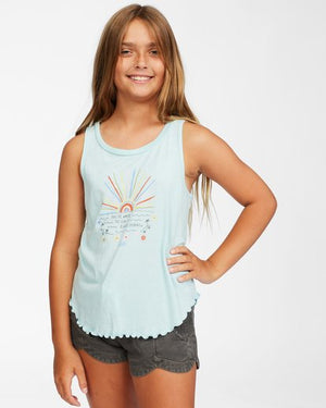 Billabong Girls Always Shinning Tank Top  - Waterfall