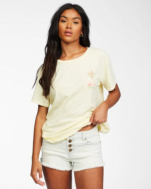 Billabong Sunny Palms Womens T Shirt - Yellow Fade