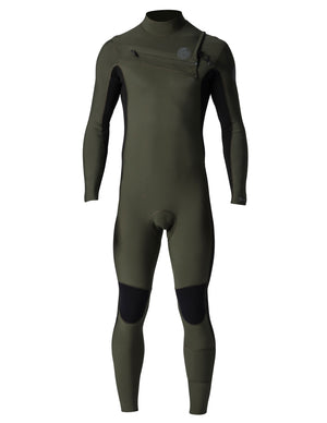 Rip Curl Aggrolite 3/2 Chest Zip Mens Wetsuit - Khaki / Black SURF WORLD