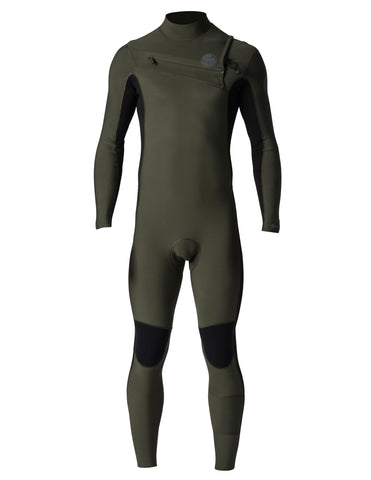 Rip Curl Aggrolite 3/2 Chest Zip Mens Wetsuit - Khaki / Black