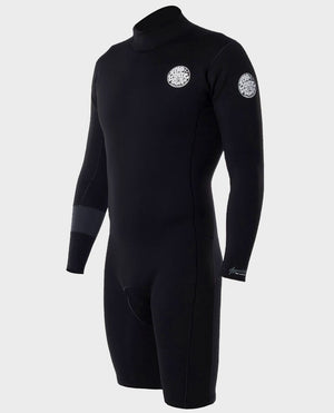 Rip Curl Aggrolite 2MM LS Mens Back Zip Springsuit - Black