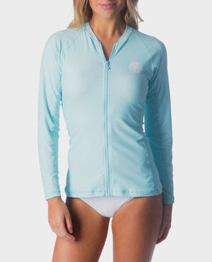 Rip Curl Belle Zip Thru LS Womens Rashguard - Light Blue SURF WORLD