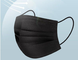 Black Surgical Face Masks with Ear Loops - Free Shipping