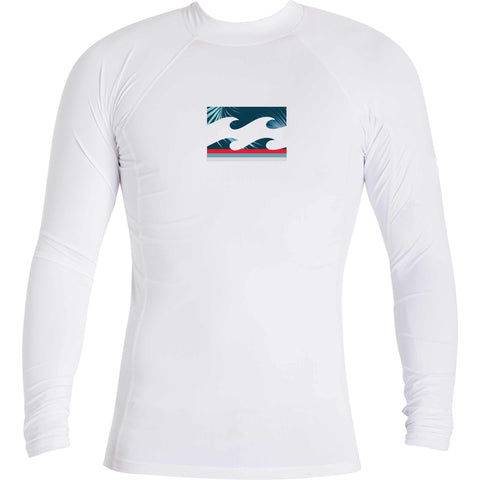 Billabong Boys All Day Wave Performance Fit Rashguard - White - SURF WORLD Fort Lauderdale Florida