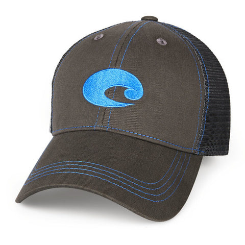 Costa Neon Trucker Hat Graphite Twill Blue Logo