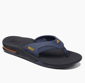 Reef Fanning Sandals Navy Yellow Bottle Opener Sandals SURF WORLD