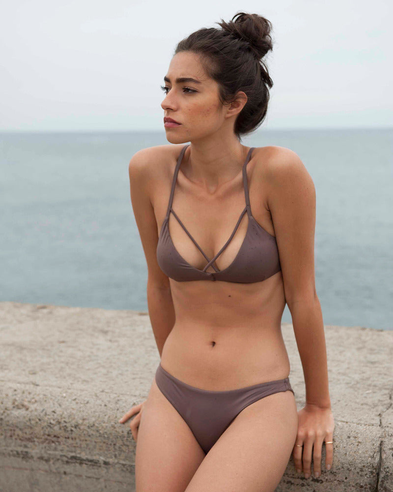 97a5d24da0e RVCA Solid Strappy Bralette Bikini Top - Raisin – SURF WORLD