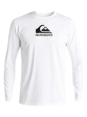 Quiksilver Solidstreak Men's Longsleeve Rashguard - White - SURF WORLD Fort Lauderdale Florida