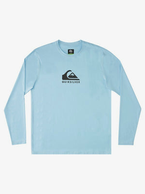 Quicksilver Solid Streak Long Sleeve UPF 50 Surf Shirt Rashguard- Airy Blue