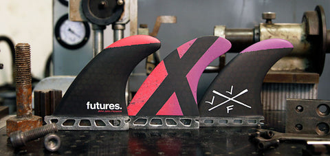 Futures Fins John John Florence Grom HC Magenta Purple Green Yellow Thruster Fins 1054459 - SURF WORLD Florida