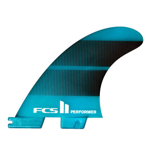 FCS 2 Performer Neo Glass Medium Tri-Quad Surfboard Fins - Teal Gradient SURF WORLD