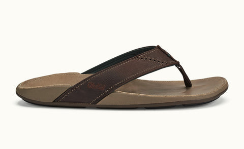 Olukai Nui Mens Leather Sandals - Dark Wood Clay - SURF WORLD Fort Lauderdale Florida
