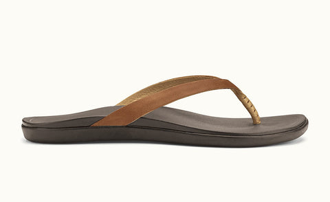 Olukai Women's Ho'opio Leather Sahara/ Dark Java Sandals - SURF WORLD  - 1