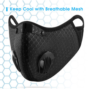 Face Masks with Secure Fit with Cooling Mesh Fabric - Black