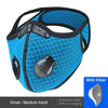 Mesh Face Mask with KN95 removable filter and exhale valves - Light Blue
