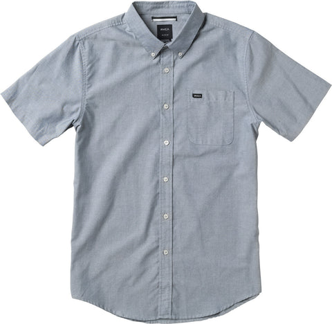 RVCA That'll Do Oxford Button Down Shirt in Distant Blue DBL - SURF WORLD  - 1