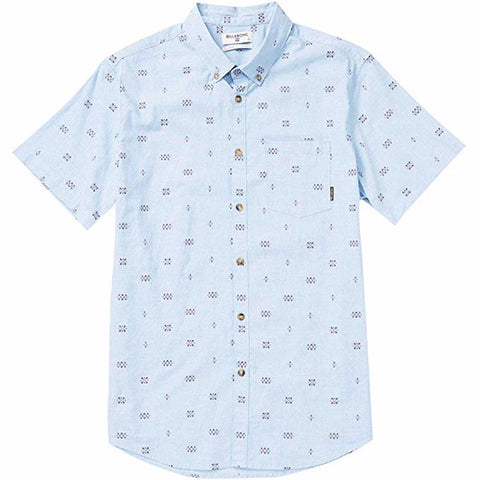 Billabong Sundays Mini Printed SS Mens Woven Shirt - Light Blue