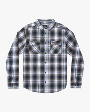 RVCA Hostile Plaid Button-Up Mens Flannel Shirt - Olive