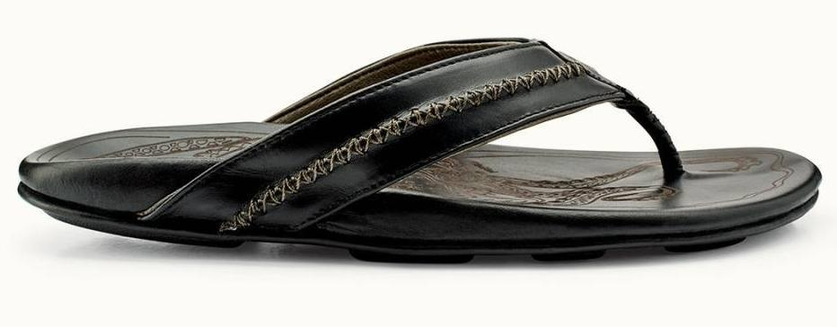 f9fc38f9eadf6 Olukai Mea Ola Mens Leather Sandal - Black Black – SURF WORLD