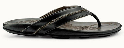 Olukai Mea Ola Mens Leather Sandal - Black Black