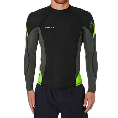 O'neill Hyperfreak 1.5mm LS Crew Wetsuit Top - Black Graphite - SURF WORLD Fort Lauderdale Florida