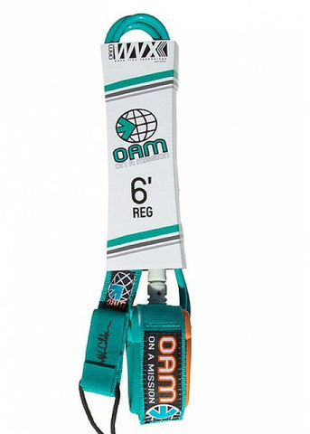 OAM 6' Regular Teal Mod Surfboard Leash LE10R6TEALMOD - SURF WORLD Florida