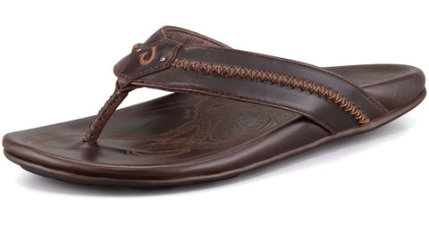 Olukai Mea Ola Men's Dark Java / Dark Java Leather Sandals